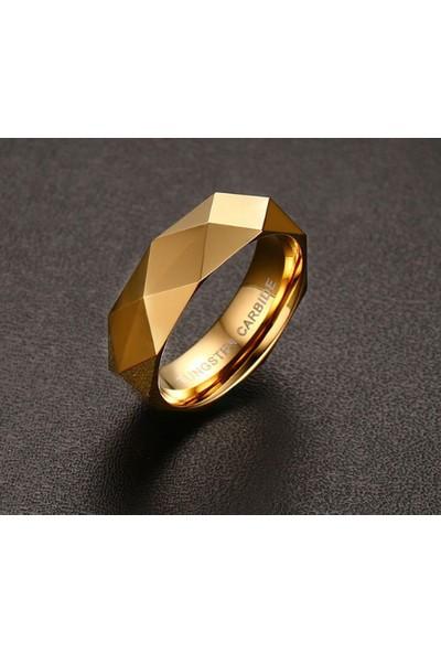 Chavin Bayan-Erkek Parlak Aynalı Gold Tungsten Yüzük Dm77 12