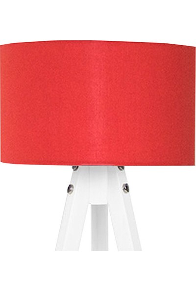 Peta Kumaş Başlıklı 3 Ayaklı Tripod Abajur - Kırmızı / Beyaz