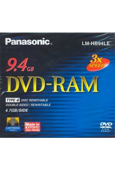 Panasonic 3X 9.4GB Removable Cartridge DVD-RAM