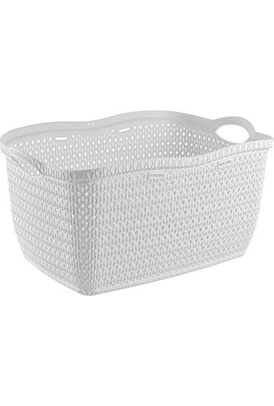 Tuffex Örme Köşeli Çamaşır Sepeti - Beyaz
