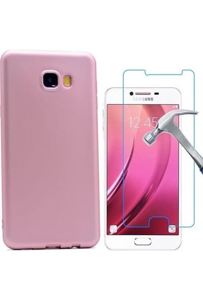 Tg Samsung Galaxy C7 Premium Silikon Kılıf + Ekran Koruyucu