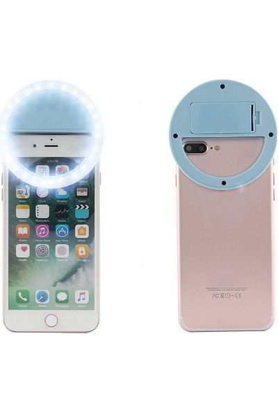 Bluecat Pilli Harici Selfie Flaş Işığı Flash Light - Mavi
