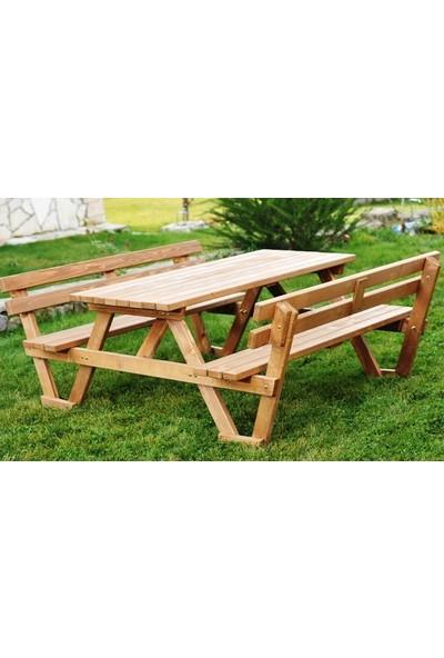 Alaçam 6 Kişilik Sırt Dayamalı Piknik Masası-Kahverengi