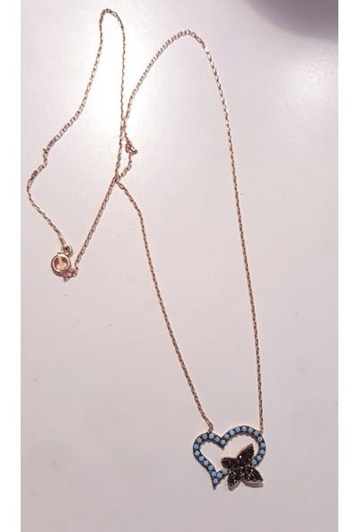 Tyelo Takı Gümüş, Rose Rengi, Turkuaz Ve Zirkon Taşlı, Kelebekli Kalp Kolye