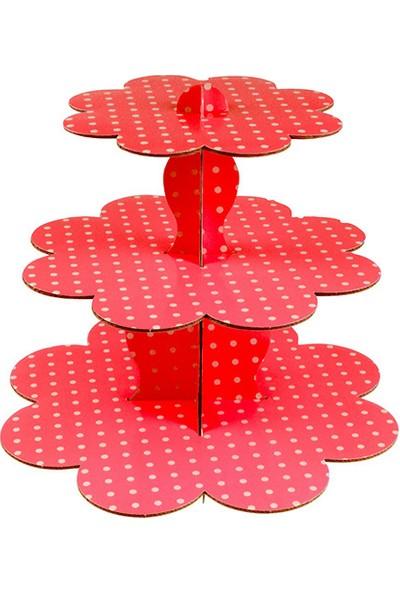 Partioutlet Kırmızı Kek Standı 3 Katlı