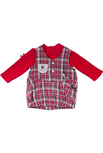 Tuc Tuc Elbise + Sweatshirt Takım British Kırmızı - Lacivert Ekose