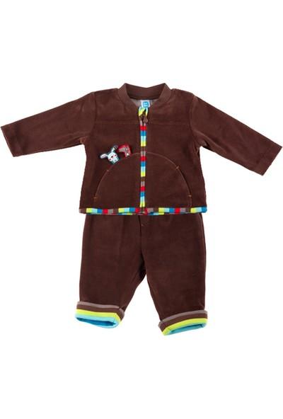 Tuc Tuc Erkek Bebek Kadife Eşofman Takımı My World Kahverengi