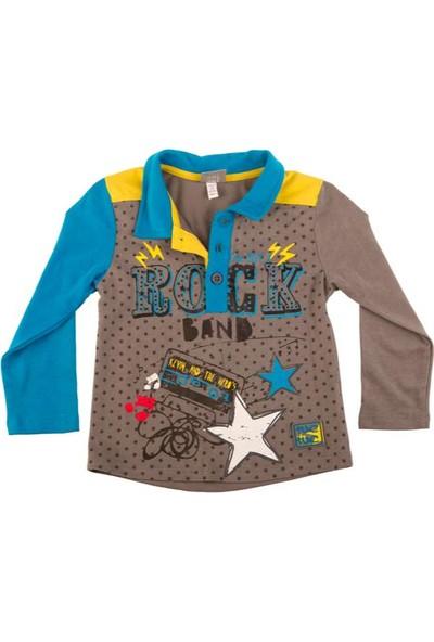 Tuc Tuc Polo Yakalı Sweatshirt, Rock Band Koyu Gri - Turkuaz Desenli