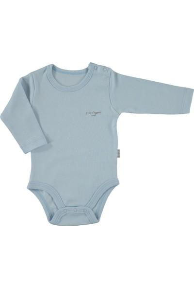 Baby Center Body Uzun Kol Organik Mavi