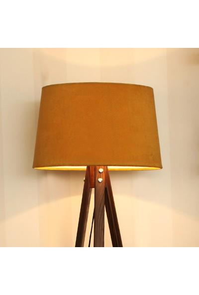 Ege Light 3 Ayaklı Ceviz Lambader Hardal Şapka