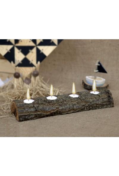 Luckywoodstore Ağaç Kütüğü Mumluk 4'Lü Meşe