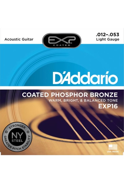 D'Addario EXP16 Coated Phosphor Bronze Akustik Gitar Teli (12-53)