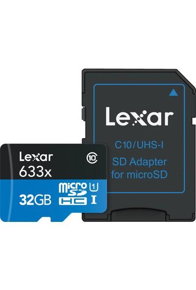 Lexar 32GB microSDHC UHS-I 633X 95mb/sn (C10) U1+ SD Adaptor Hafıza Kartı LSDMI32GBBEU633A