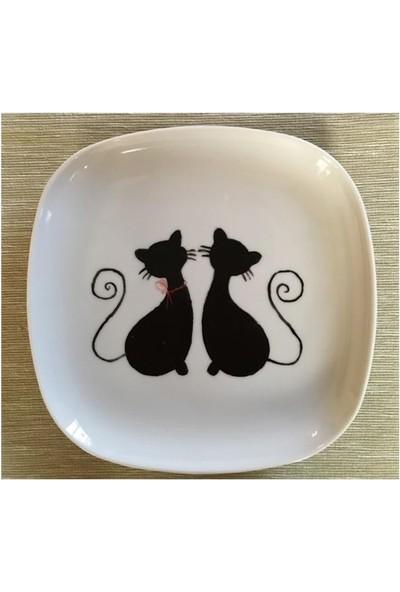Vago Minds El Boyama Porselen Tabak / Kedi Çifti