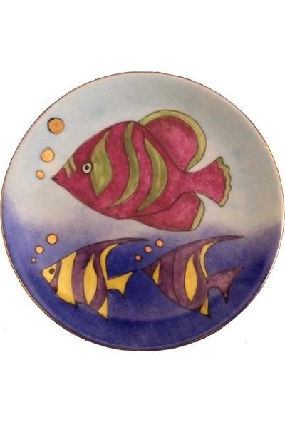 Vago Minds El Boyama Altın Süslemeli Porselen Tabak / Balıklar
