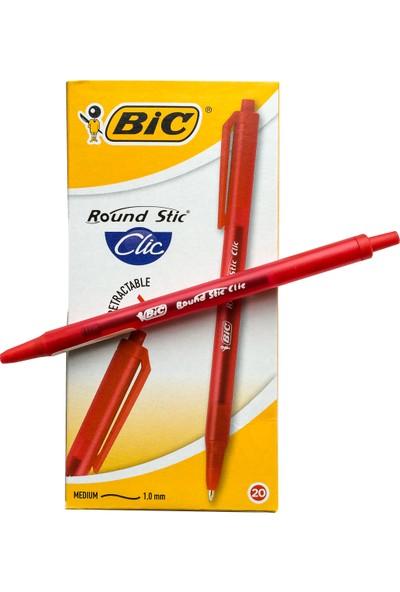 Bic Round Stic Clic Tükenmez Kalem Kırmızı 5'li Paket
