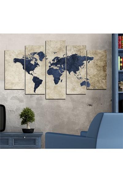 Insigne 5 Parçalı Mdf Tablo- Dünya Haritası