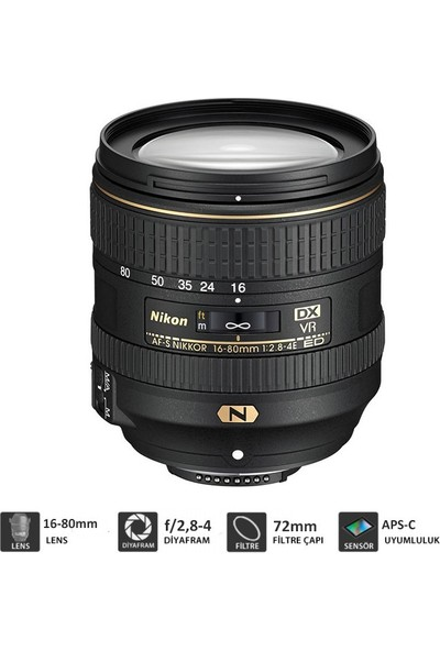 Nikon Af-S Dx Nıkkor 16-80Mm F/2.8-4E Ed Vr Lens