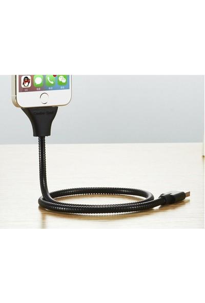 Elba-Mk65S Metal Apple iPhone 5 Stand Kablo Siyah