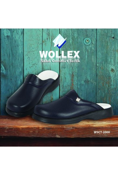 Wollex Sabo Comfort Klasik Erkek Terlik (Lacivert) Wcst-2770