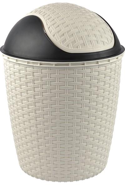 Tuffex Rattan Roboklik Çöp Kovası No 4 - Beyaz (14 Lt)