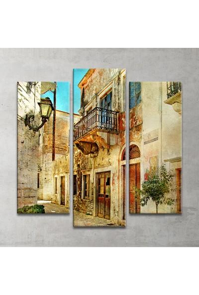 Plustablo Vintage Sokak Dekoratif 3 Parça Kanvas Tablo