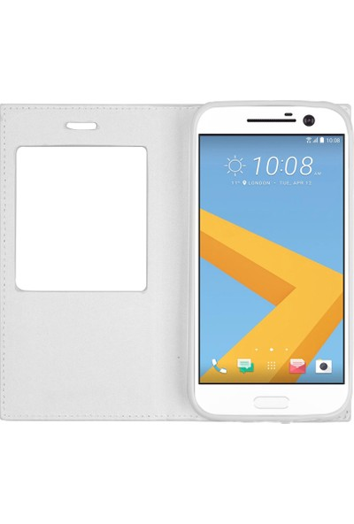 Microsonic HTC 10 Kılıf Gizli Mıknatıslı View Delux