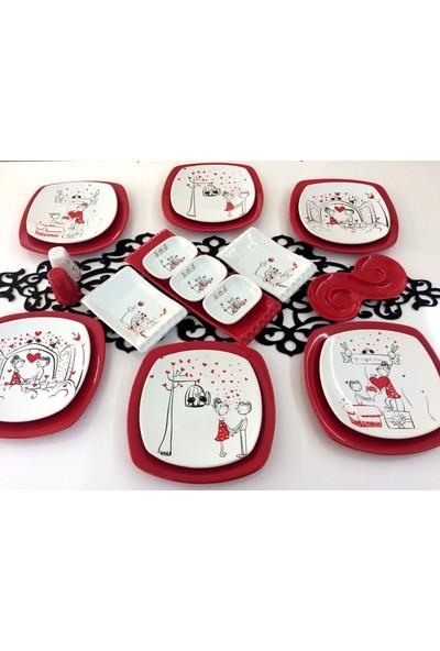 Keramika Peri Masalı Aşk 21 Parça 6 Kişilik Seramik Kahvaltı Takımı