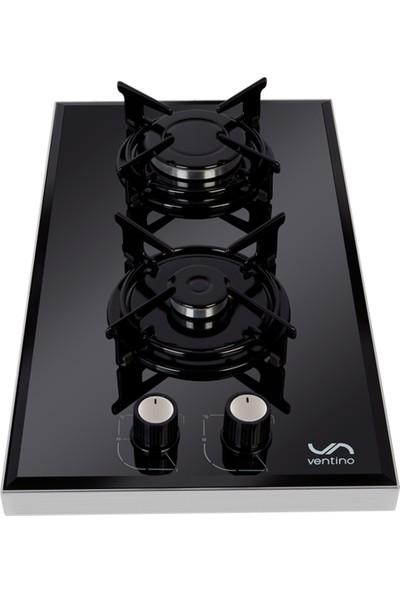 Ventino 2030 Lpg (Tüplü) Siyah Cam Domino Setüstü Ocak