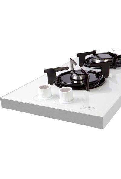 Ventino 2020 Ng (Doğalgaz) Cam Domino Setüstü Beyaz Ocak