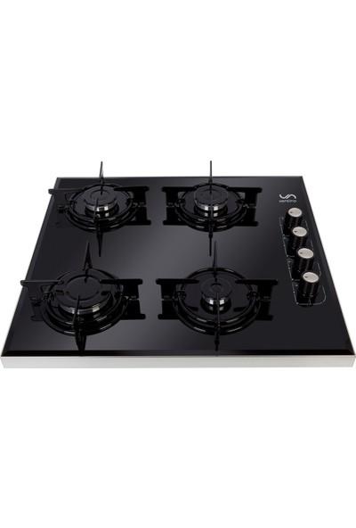 Ventino 2080 Lpg (Tüplü) Siyah Cam Yandan Düğmeli Setüstü Ocak