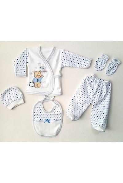 5 Parça Erkek Bebek Hastane Çıkışı Yeni Doğan Zıbın Seti