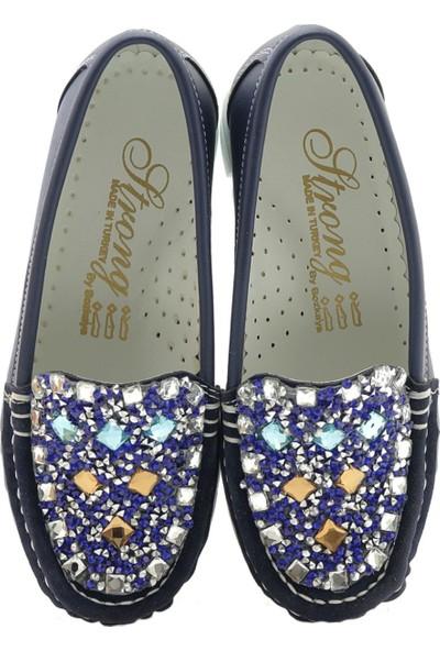 Alibo Lacivert Taşlı Kalın Taban Çocuk Ayakkabı
