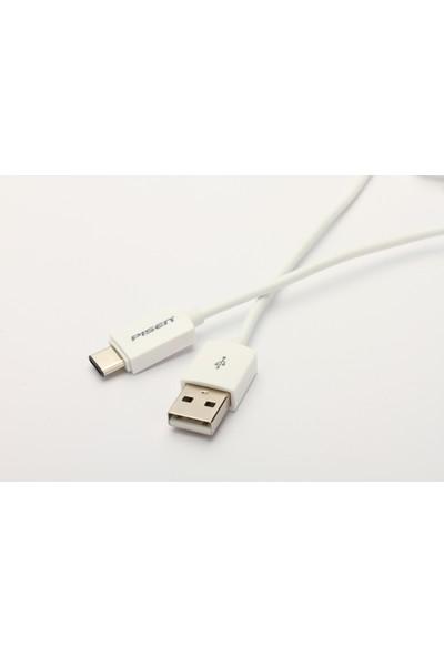 Pisen 1 Metre Type C Beyaz Şarj Kablosu,Type C Bağlantısı İle Şarj Olan Cihazlarla Uyumlu
