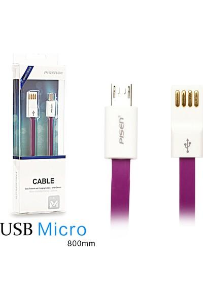 Pisen Mikro Usb 80 Cm Flat Data Ve Şarj Kablosu