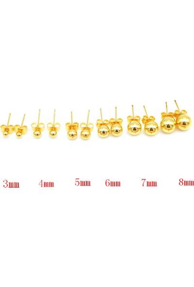 Chavin Yuvarlak Sarı Top Kadın Çelik Küpe 5 Mm. Dm18-7