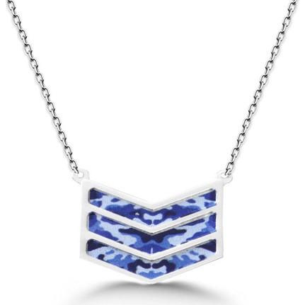 Chavin Mavi Renkli Asker Rütbesi Gümüş Kolye Dm48 Fiyatı