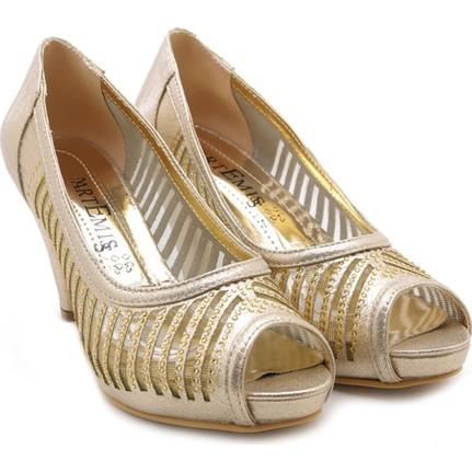Artemis Dore Altın Taşlı Kadın Topuklu Ayakkabı