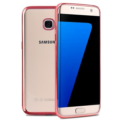 Case 4U Samsung Galaxy S7 Edge Lazer Kaplama Silikon Kılıf Rose Gold