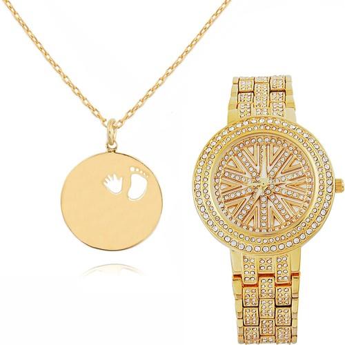 Chavin Bebeğim El-Ayak Bayan Altın Kolye ve Saat Seti cu28st617