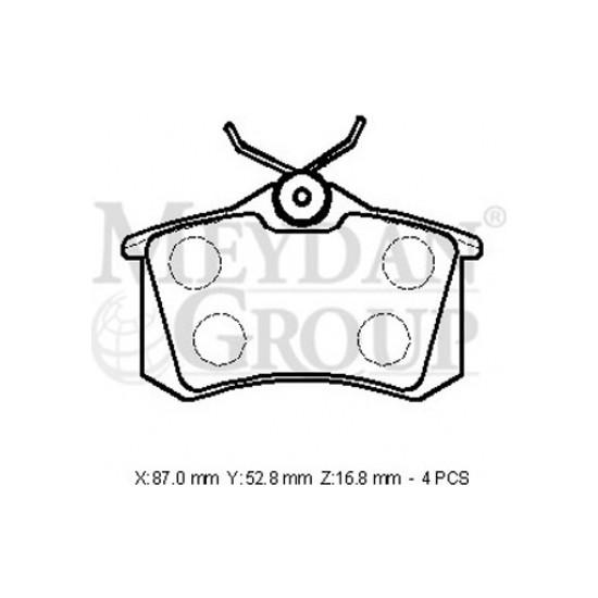 Ypc Peugeot 307- 01/05 Arka Fren Balatası 1.4/1.6Cc (Kablosuz) (Disk) (87X52,8X16,8) (Bramax)