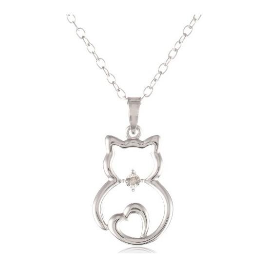 Sare Pırlanta Gümüş Kedili Kalp Kolye