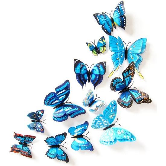 Decor Desing 3D Çift Kanatlı Lüks Kelebek Duvar Ve Perde Dekor Süsü Mavi