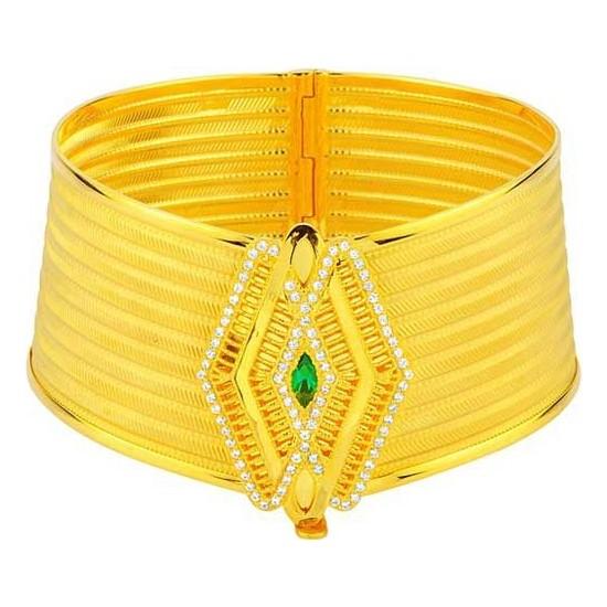 Bilezikhane Yeşil Taşlı 9 Sıralı Hasır Bilezik 22 Ayar Altın