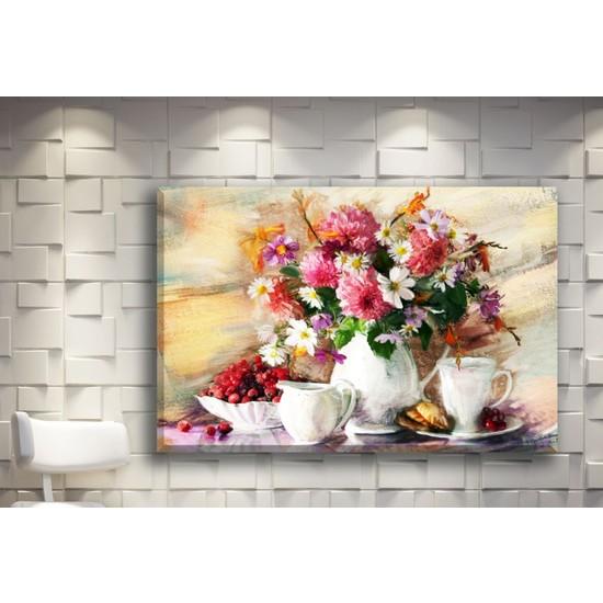 Pia Hediyelik Kanvas Tablo Renkli Çiçekler