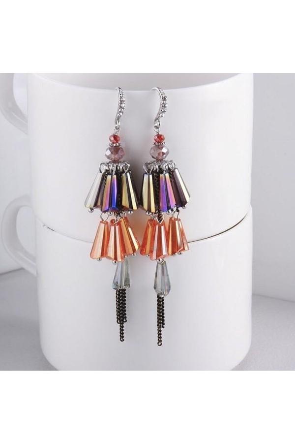 Byzinci Colorful Crystal Handmade Earrings