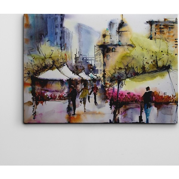 Dekolata Sehir Ve Sulu Boya Art Kanvas Tablo 70 X 100 Cm