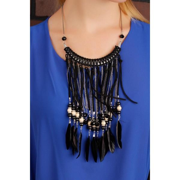 810637623572e Anka Siyah Ve Gri Zincir Tasarımlı Tüy Detaylı Bayan Kolye Fiyatları ...