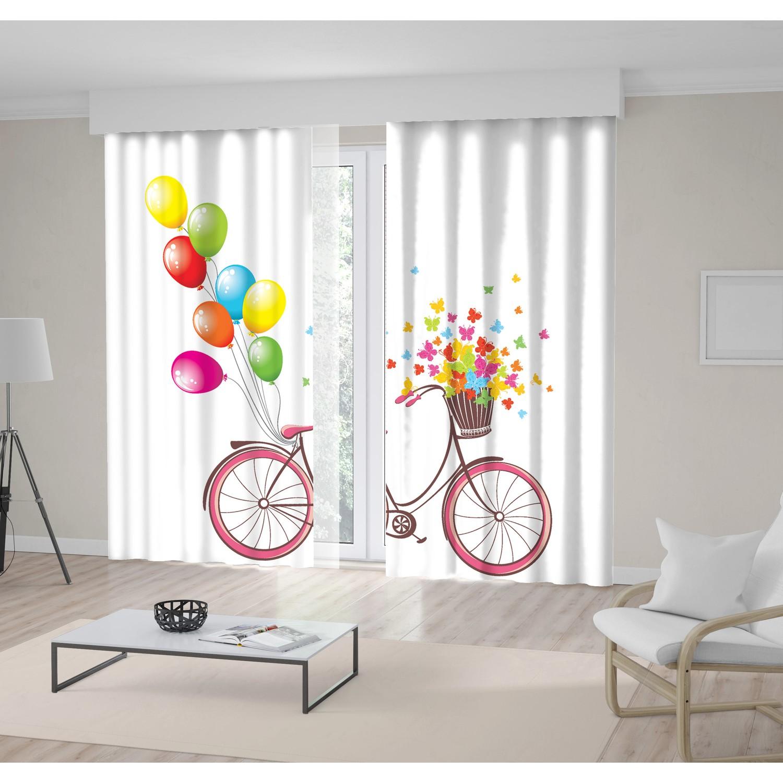 Balonlu Bisiklet Desenli Pembe Sarı Mavi Fon Perde Fiyatı