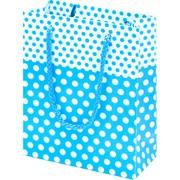 d63060f5e18c6 Çanta Boy Özel Puantiye Desenli Mavi Karton Taşıma Çantası - 25'li